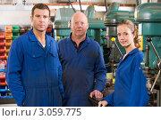 Купить «Трое слесарей на рабочем месте», фото № 3059775, снято 22 ноября 2007 г. (c) Monkey Business Images / Фотобанк Лори