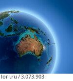 Купить «Планета Земля с высоким рельефом, освещенная солнцем, вид из космоса», иллюстрация № 3073903 (c) Антон Балаж / Фотобанк Лори