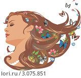 Девушка с цветами и бабочками в волосах. Стоковая иллюстрация, иллюстратор Irina Burtseva / Фотобанк Лори