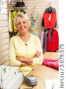 Купить «Улыбающаяся блондинка - продавец в магазине одежды», фото № 3079575, снято 24 июня 2009 г. (c) Monkey Business Images / Фотобанк Лори