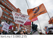 Купить «Плакаты против Путина на многотысячном митинге на проспекте Сахарова 24 декабря 2011 года - За честные выборы, город Москва», эксклюзивное фото № 3080215, снято 24 декабря 2011 г. (c) Николай Винокуров / Фотобанк Лори
