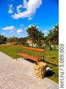 Пустая деревянная скамейка в городском парке. Стоковое фото, фотограф Sviatoslav Homiakov / Фотобанк Лори