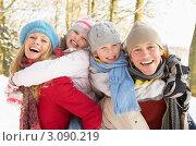 Купить «Портрет счастливой семьи в зимний день, дети на спине у родителей», фото № 3090219, снято 8 января 2010 г. (c) Monkey Business Images / Фотобанк Лори
