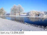 Зимний пейзаж с дубами и рекой на фоне голубого неба. Стоковое фото, фотограф Сергей Яковлев / Фотобанк Лори