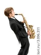 Купить «Мальчик исполняет джаз на саксофоне», фото № 3096311, снято 11 мая 2009 г. (c) Владимир Мельников / Фотобанк Лори
