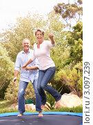 Купить «Улыбающиеся муж с женой прыгают на батуте в саду», фото № 3097239, снято 27 февраля 2010 г. (c) Monkey Business Images / Фотобанк Лори