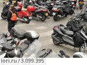 Купить «Мотороллеры на стоянке. Париж», эксклюзивное фото № 3099395, снято 10 мая 2010 г. (c) Александр Алексеев / Фотобанк Лори