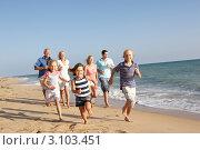 Купить «Большая жизнерадостная семья бежит вдоль берега моря», фото № 3103451, снято 1 сентября 2010 г. (c) Monkey Business Images / Фотобанк Лори