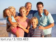 Купить «Большая счастливая семья на пляже», фото № 3103483, снято 1 сентября 2010 г. (c) Monkey Business Images / Фотобанк Лори