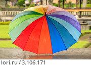 Купить «Раскрытый мокрый зонт на улице», фото № 3106171, снято 9 ноября 2008 г. (c) Морозова Татьяна / Фотобанк Лори