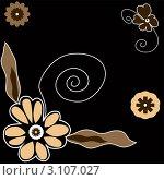 Цветочный орнамент на черном фоне. Стоковая иллюстрация, иллюстратор Елена Назаркина / Фотобанк Лори