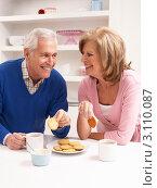Купить «Пожилая пара пьет кофе с печеньем в кухне за столом», фото № 3110087, снято 7 декабря 2010 г. (c) Monkey Business Images / Фотобанк Лори