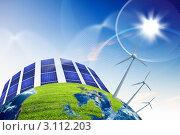 Купить «Альтернативные источники энергии. Ветряные генераторы и солнечные батареи», иллюстрация № 3112203 (c) Sergey Nivens / Фотобанк Лори
