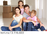 Купить «Семья из четырех человек в пустой комнате с коробками», фото № 3116603, снято 2 марта 2011 г. (c) Monkey Business Images / Фотобанк Лори