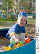 Купить «Ребенок играет в песочнице», фото № 3118235, снято 8 июня 2009 г. (c) Владимир Мельников / Фотобанк Лори
