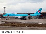 Купить «Грузовой самолет Boeing 747-4B5F/ER/SCD авиакомпании Korean Air Cargo на погрузке в аэропорту Шереметьево, Москва, Россия», эксклюзивное фото № 3119815, снято 12 апреля 2011 г. (c) Николай Винокуров / Фотобанк Лори