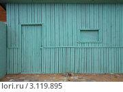 Балашиха, Подмосковье. Деревянный сарай, дверь заперта на замок (2011 год). Стоковое фото, фотограф Дина Гордиенко / Фотобанк Лори