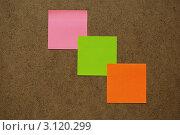 Три цветных стикера на деревянной поверхности. Стоковое фото, фотограф Александр Фемяк / Фотобанк Лори