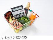 Купить «Большой калькулятор в корзине для покупок вместе с продуктами», фото № 3123495, снято 12 июля 2011 г. (c) Monkey Business Images / Фотобанк Лори