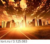 Купить «Шоссе и небоскрёбы на фоне неба, тонировано», иллюстрация № 3125083 (c) Sergey Nivens / Фотобанк Лори