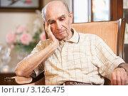 Купить «Задумавшийся пожилой мужчина в кресле», фото № 3126475, снято 15 октября 2007 г. (c) Monkey Business Images / Фотобанк Лори