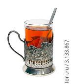 Купить «Стеклянный стакан чая в железном подстаканнике на белом фоне», фото № 3133867, снято 11 января 2012 г. (c) Юрий Плющев / Фотобанк Лори