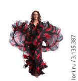 Купить «Танцовщица в костюме танцует цыганский танец», фото № 3135387, снято 19 февраля 2019 г. (c) Гурьянов Андрей / Фотобанк Лори
