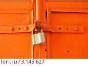 Замок на металлической крашеной двери. Стоковое фото, фотограф Наталия Китаева / Фотобанк Лори