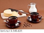 Кофе с молоком и сыр на завтрак. Стоковое фото, фотограф Наталия Китаева / Фотобанк Лори