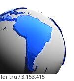 Купить «Земной шар с силуэтом континента Южной Америки из синего пластика», иллюстрация № 3153415 (c) Антон Балаж / Фотобанк Лори