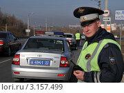 Купить «Инспектор ДПС», эксклюзивное фото № 3157499, снято 14 октября 2011 г. (c) Free Wind / Фотобанк Лори