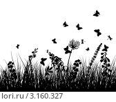 Купить «Силуэты бабочек и полевых трав на белом фоне», иллюстрация № 3160327 (c) Павел Коновалов / Фотобанк Лори