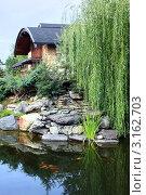 Купить «Загородный дом у пруда с рыбками», фото № 3162703, снято 11 сентября 2010 г. (c) Татьяна Белова / Фотобанк Лори