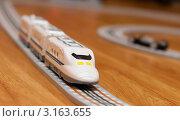 Купить «Электропоезд игрушечной железной дороги», эксклюзивное фото № 3163655, снято 7 января 2012 г. (c) Игорь Низов / Фотобанк Лори