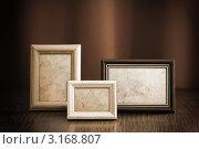 Купить «Три фото рамки на коричневом фоне», фото № 3168807, снято 20 февраля 2010 г. (c) vlntn / Фотобанк Лори
