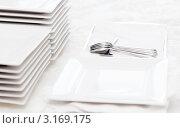 Стопка прямоугольных тарелок на столе. Стоковое фото, фотограф IEVGEN IVANOV / Фотобанк Лори
