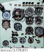 Купить «Деталь кабины самолета с различными индикаторами и кнопками», фото № 3179811, снято 2 июля 2011 г. (c) Alexander Tihonovs / Фотобанк Лори