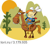 Купить «Смешной шериф на лошади», иллюстрация № 3179935 (c) Vasiliev Sergey / Фотобанк Лори
