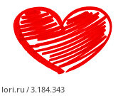 Купить «Нарисованное красное сердце на белом фоне», фото № 3184343, снято 23 марта 2019 г. (c) Anelina / Фотобанк Лори