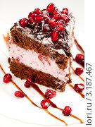 Купить «Вкусный тортик с зернами граната», фото № 3187467, снято 2 ноября 2011 г. (c) ElenArt / Фотобанк Лори