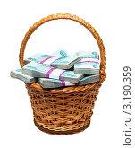 Купить «Плетеная корзина с деньгами», фото № 3190359, снято 23 сентября 2011 г. (c) Михаил Коханчиков / Фотобанк Лори