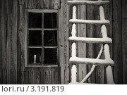 Купить «Стена деревянного дома со свечой в окне и лестницей», фото № 3191819, снято 3 января 2012 г. (c) Dmitry S. Marshavin / Фотобанк Лори