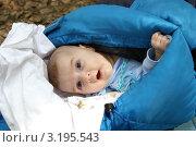 Ребенок (2 мес) в спальнике. Стоковое фото, фотограф Охотникова Екатерина *Фототуристы* / Фотобанк Лори