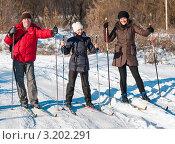 Купить «Счастливая семья.Папа мама и дочка на лыжах», эксклюзивное фото № 3202291, снято 28 января 2012 г. (c) Игорь Низов / Фотобанк Лори