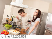 Купить «Мужчина и женщина вместе готовят ужин на кухне», фото № 3205859, снято 23 января 2010 г. (c) CandyBox Images / Фотобанк Лори