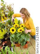 Купить «Молодая женщина опрыскивает комнатные цветы в горшке», фото № 3214655, снято 3 мая 2010 г. (c) CandyBox Images / Фотобанк Лори