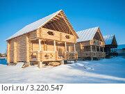 Купить «Строительство загородных домов из бруса», эксклюзивное фото № 3220547, снято 27 января 2012 г. (c) Игорь Низов / Фотобанк Лори