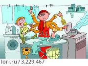 Купить «Многорукая домохозяйка с детьми», иллюстрация № 3229467 (c) Vasiliev Sergey / Фотобанк Лори