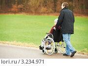 Купить «Пожилая женщина в инвалидном кресле с сыном в парке», фото № 3234971, снято 21 октября 2018 г. (c) Дмитрий Калиновский / Фотобанк Лори