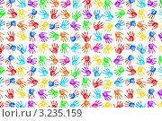 Купить «Цветные отпечатки ладоней на белом фоне», фото № 3235159, снято 12 октября 2011 г. (c) Elnur / Фотобанк Лори